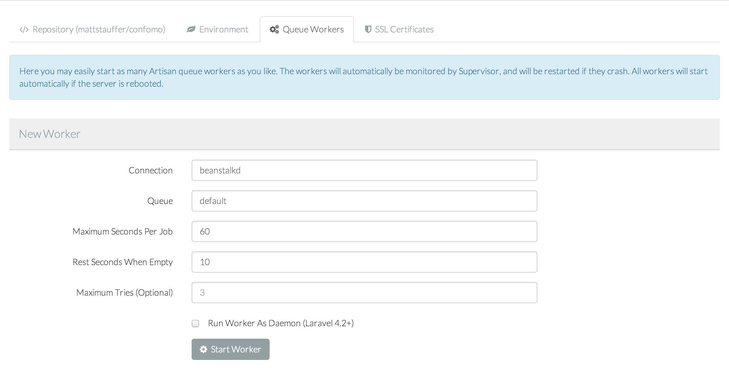 Start new Laravel Forge Queue Worker