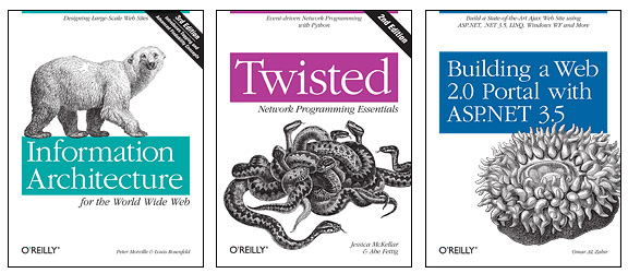 A picture of three O'Reilly animal book covers