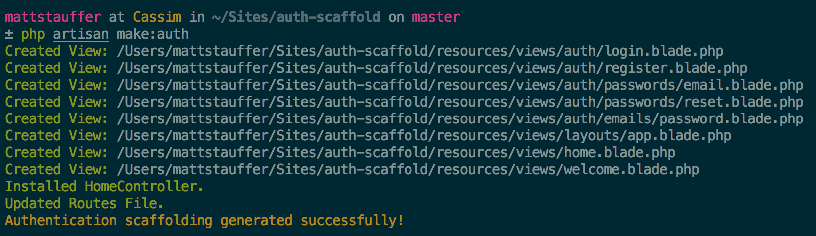 Command line output of artisan make:auth  - auth scaffold command line - The auth scaffold in Laravel 5.2