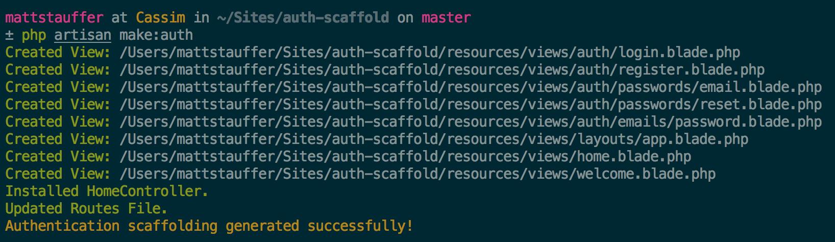 The auth scaffold in Laravel 5 2 | MattStauffer com