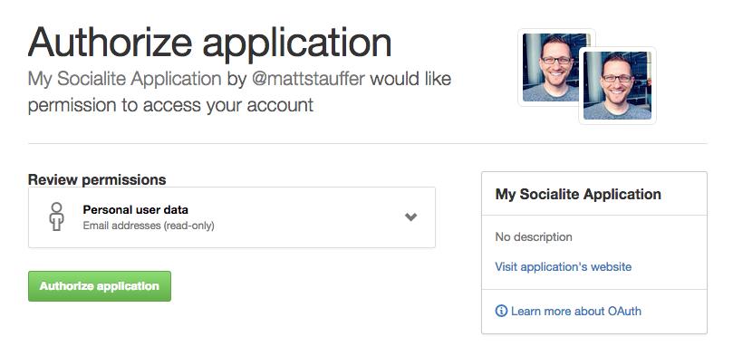 Github auth screen  - authorize github socialite - Using Github authentication for login with Laravel Socialite