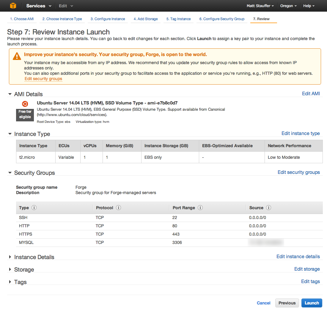 AWS Review Instance