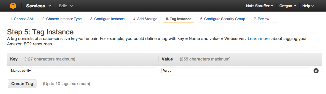 AWS Tag Instance