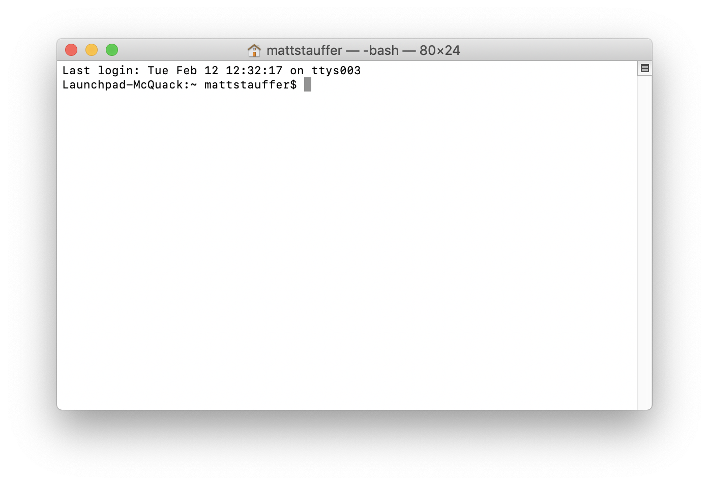 A screenshot of the default macOS terminal