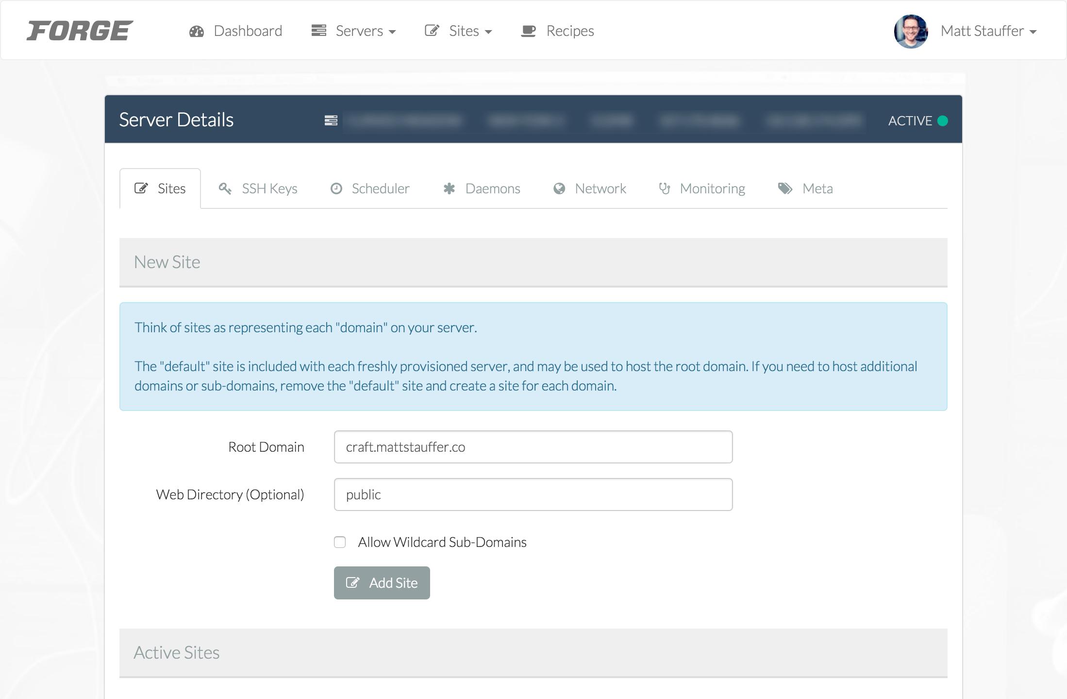 Add a new site