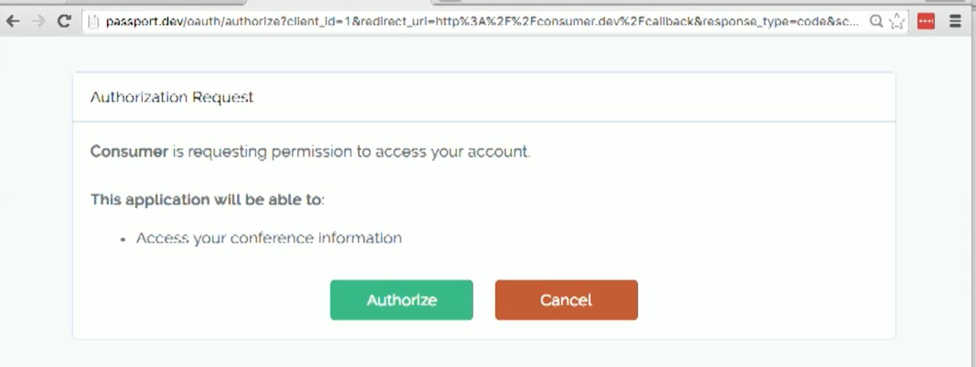 Screenshot of Laravel Passport auth approval view