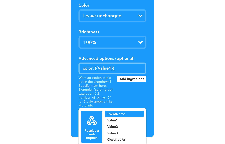 Using custom IFTTT webhook parameters