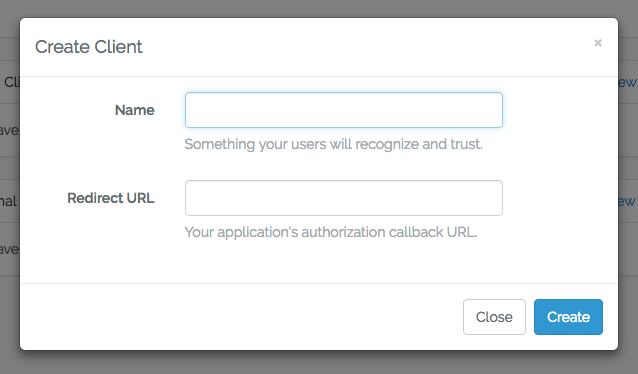 Screenshot of Laravel Passport create client view