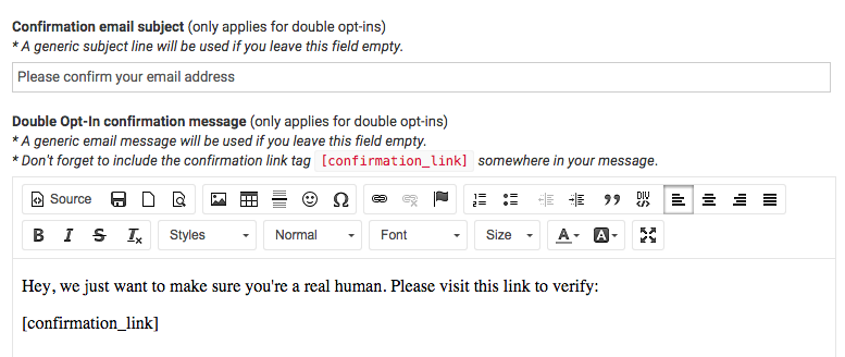 Custom confirmation email