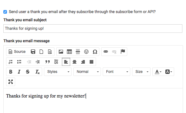 Custom welcome email