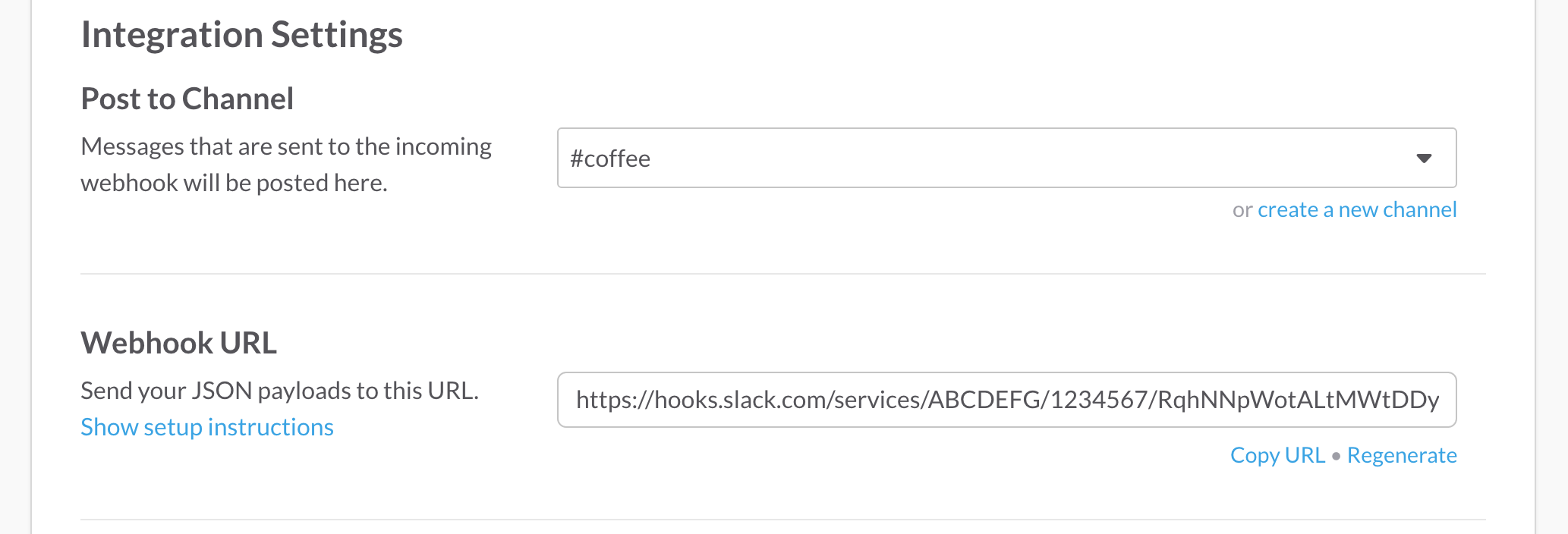 Slack integration configuration screenshot  - slack integration config screen - The new Notification system in Laravel 5.3