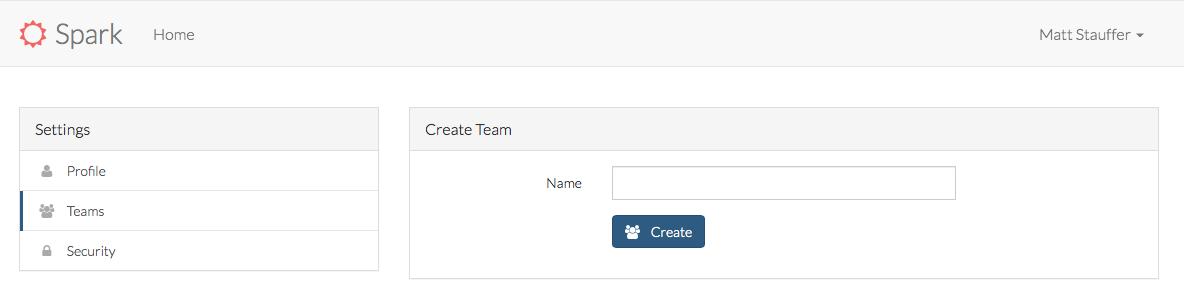 Spark Adding a Team