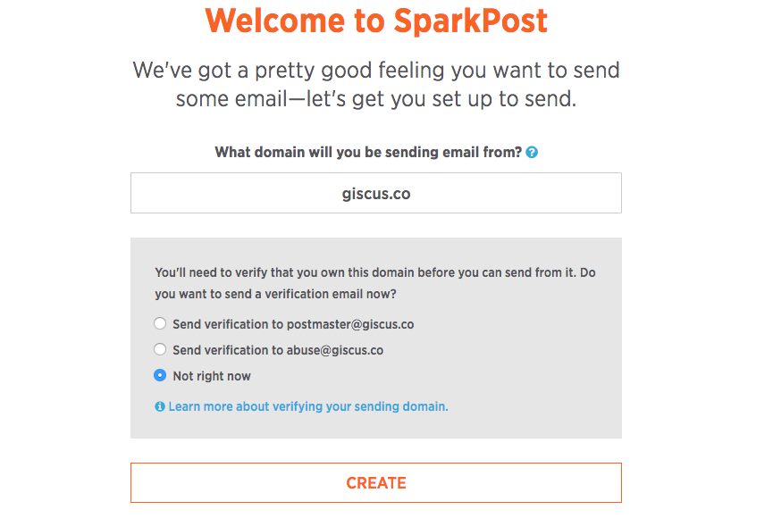 SparkPost welcome screen