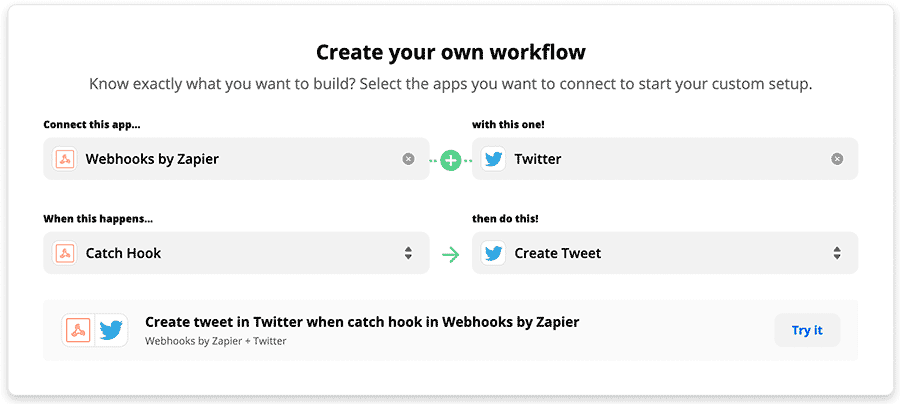 Create workflow in Zapier