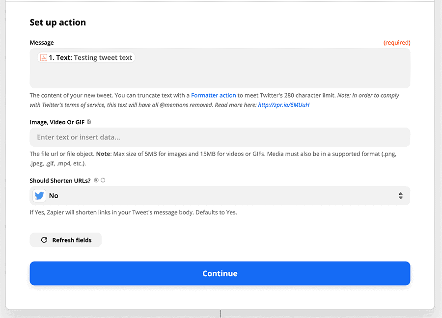 "Screenshot of the ""Set up action"" form in Zapier"