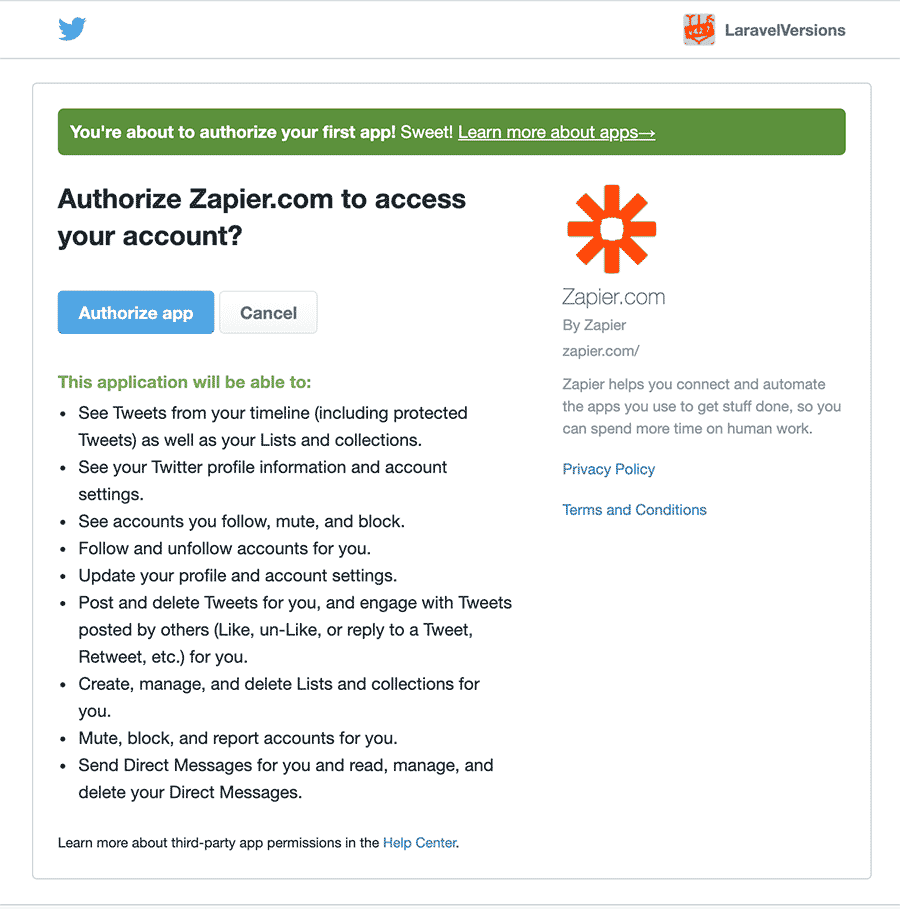 Twitter OAuth screen